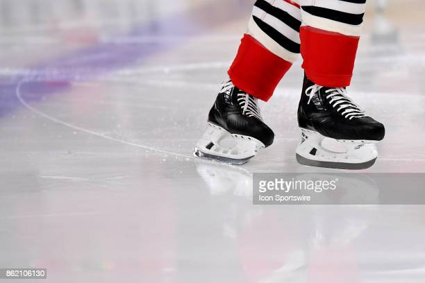 A member of the Chicago Blackhawks skates through the fresh ice during a game between the Chicago Blackhawks and the Minnesota Wild on October 12 at...
