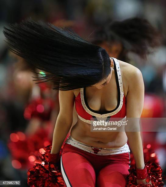 A member of the Chicago Bulls dance team 'The Luvabulls' performs during a break between the Bulls and the Sacramento Kings at United Center on...