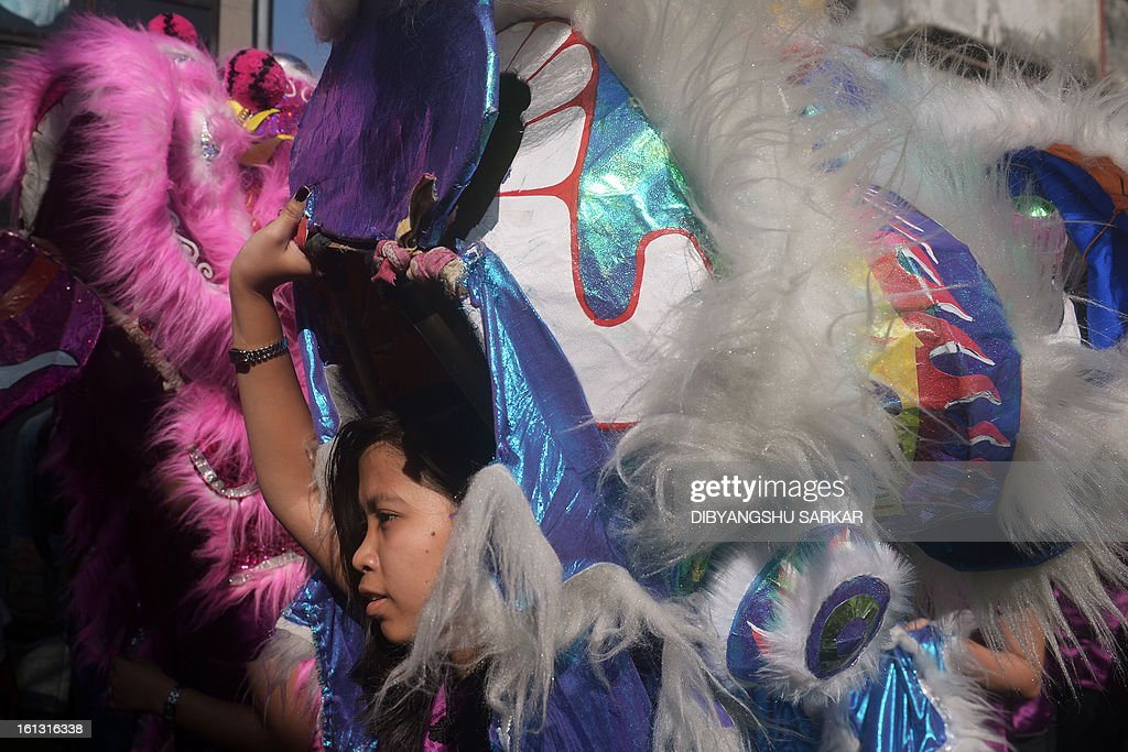 A member of the Chinese community is pictured in a lion dance costume as they celebrate the Chinese New Year in Kolkata on February 10, 2013. Chinese communities worldwide are welcoming the 'Year of the Snake'. AFP PHOTO/Dibyangshu SARKAR