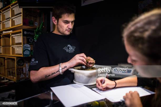 A member of the club fills in the register as she buys some marijuana buds in a cannabis club on August 22 2014 in Barcelona Spain Under Spanish law...