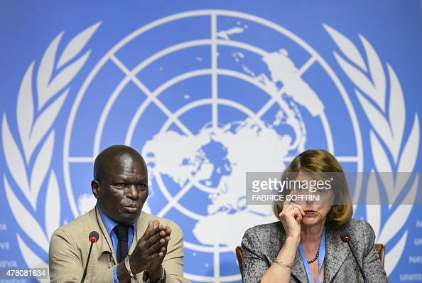 Member of the Commission of Inquiry on the 2014 Gaza conflict Doudou Diene gestures next to Chairperson of the Commission Mary McGowan Davis during a...