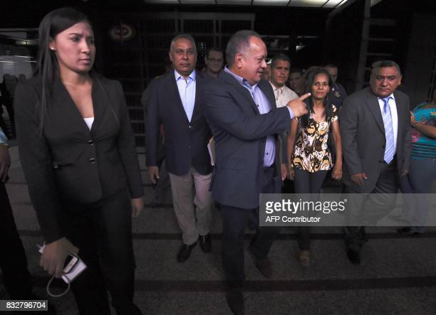 Member of the Constituent Assembly Diosdado Cabello is seen at the public prosecutor's office in Caracas on August 16 2017 The Venezuelan...