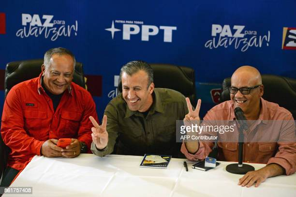 Member of the Constituent Assembly Diosdado Cabello Venezuelan VicePresident Tareck El Aissami and mayor of Libertador municipality in Caracas and...