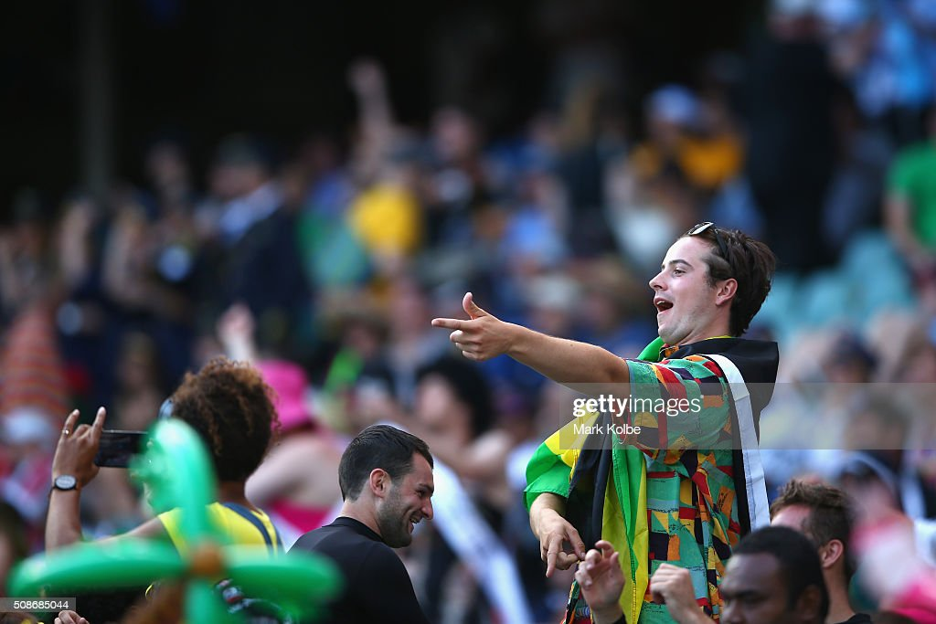 A member of the crowd in fancy dress enjoys the atmosphere during the 2016 Sydney Sevens at Allianz Stadium on February 6, 2016 in Sydney, Australia.