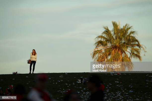 A member of the crowd stands on the hill after the round 23 NRL match between the St George Illawarra Dragons and the Gold Coast Titans at UOW...