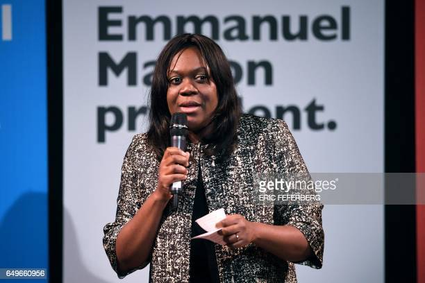 Member of the En Marche movement Laetitia Avia speaks during an event organised by the collective 'Elles Marchent' and attended by French...