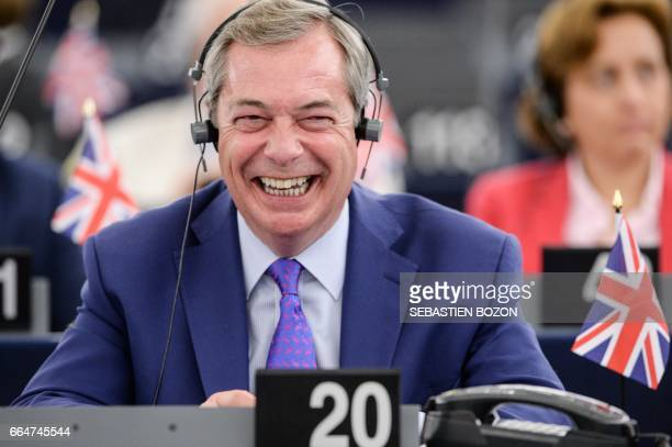 Member of the European Parliament and former leader of the antiEU UK Independence Party Nigel Farage gestures during speeches at the European...