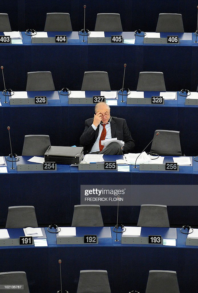 A member of the European Parliament attends a debate at the European Parliament on June 16, 2010 in Strasbourg, eastern France.