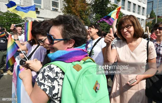 Member of the European Parliament from Alliance '90/The Greens German Rebecca Harms takes part in the gay pride march on June 18 2017 in Kiev More...