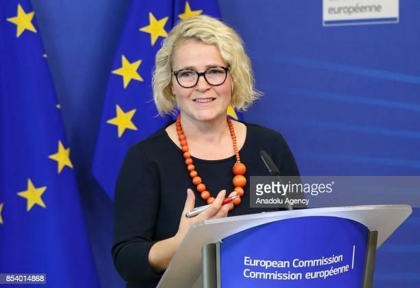 Member of the European Parliament Miapetra KumpulaNatri and EU Commissioner for Digital Economy and Society Mariya Gabriel hold a joint press...
