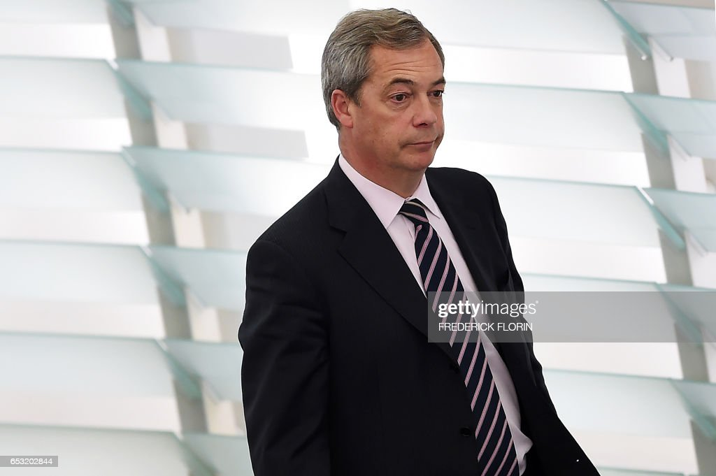 Member of the European Parliament Nigel Farage takes part in a voting session at the European Parliament in Strasbourg, eastern France, on March 14, 2017. /