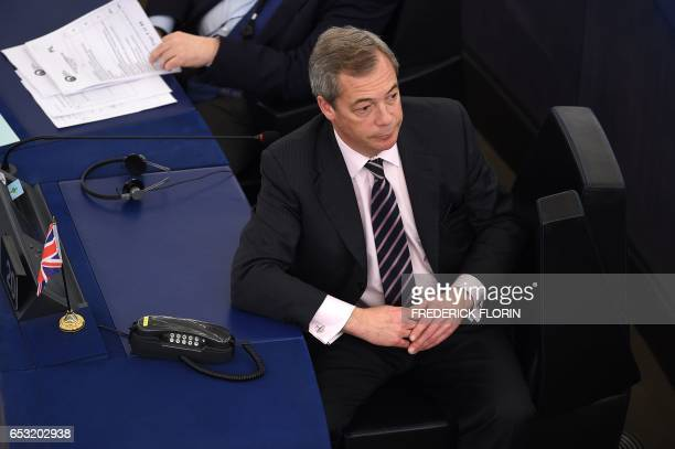 Member of the European Parliament Nigel Farage takes part in a voting session at the European Parliament in Strasbourg eastern France on March 14...