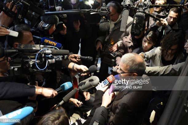 Member of the French employers association Medef executive board Patrick Bernasconi talks to journalists after a meeting focused on employment...