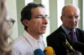 Member of the French High Council of Biotechnology JeanChristophe Pages gives a press conference on October 22 2012 after the presentation of the...