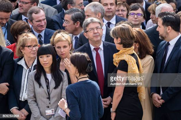 Member of the French Parliament Jean Luc Melenchon attends the Simone Veil Funeral and national tribute at Hotel des Invalides on July 5 2017 in...