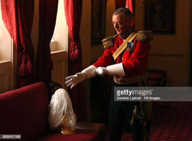 A member of the Gentlemen at Arms in Colour Court at St James's Palace London as part of a parade to mark the 500th anniversary of the institution of...