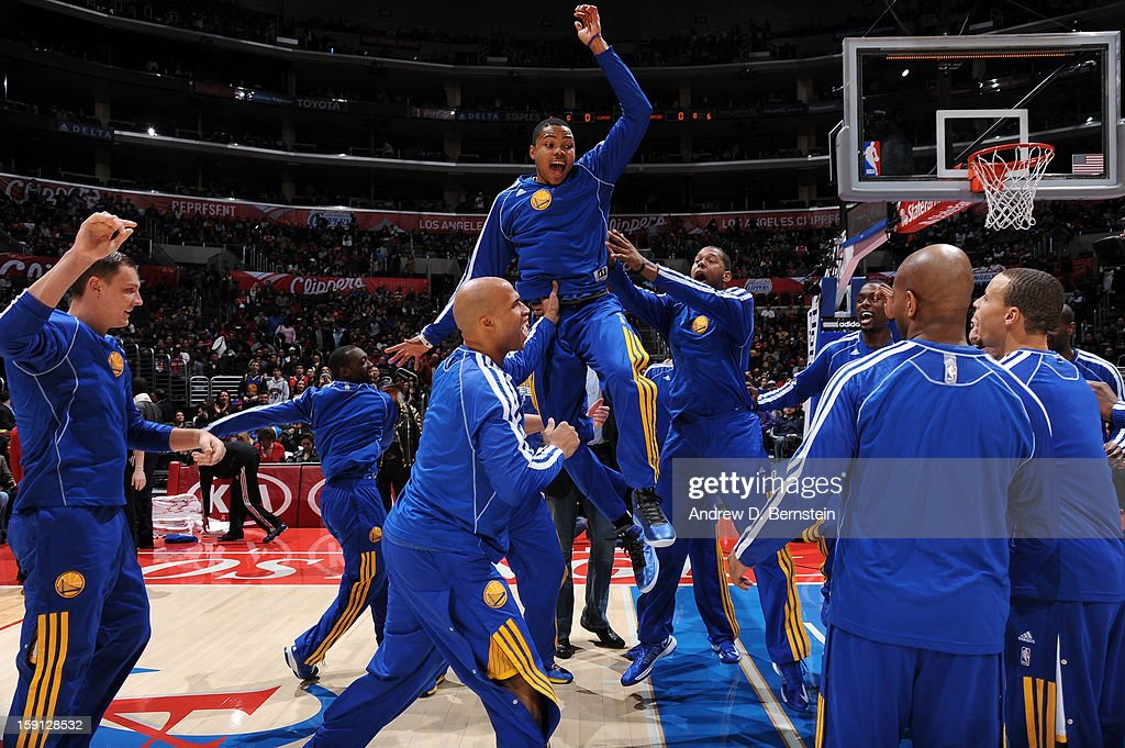 Member of the Golden State Warriors get ready before the game against the Los Angeles Clippers at Staples Center on January 5, 2013 in Los Angeles, California.