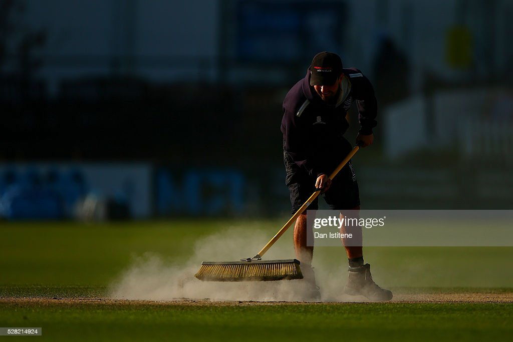 A member of the groundstaff makes repairs to one of the creases after the Specsavers County Championship Division Two match between Sussex and Leicestershire at The 1st Central County Ground on May 4, 2016 in Hove, England.