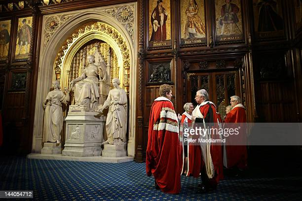 Member of The House of Lords wait in the Prince's Chamber before the State Opening of Parliament on May 9 2012 in London England Queen Elizabeth II...