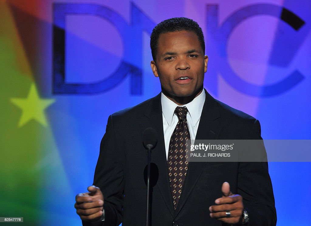 Member of the House of Representatives of Illinois Jesse Jackson Jr addresses the audience at the Democratic National Convention 2008 at the Pepsi...