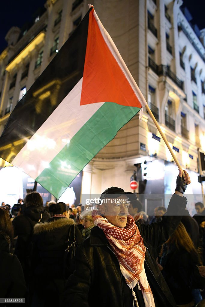A member of the 'Indigenous of the Republic's Party' (PIR) holds a Palestinian flag during a demonstration with about 120 PIR members, on November 8, 2012 in front of France's Justice Ministry in Paris, to claim the dissolution of the Jewish Defence League (LDJ), as they accuse this jewish organisation of far-right attacks on pro-Palestinian supporters. On October 25, the LDJ uploaded on Youtube website a video showing PIR's spokeswoman Houria Bouteldja and pro-Palestinian militants Olivia Zemor and Jacob Cohen, sprayed with red paint after being assaulted by LDJ members. AFP PHOTO / THOMAS SAMSON