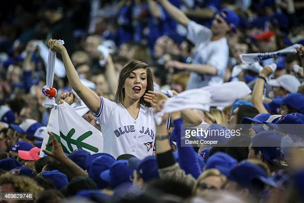 TORONTO ON APRIL 13 A member of the Jay Crew works the crowd late in the game as the Toronto Blue Jays lost their hoe opener 21 to the Tampa Bay Rays...