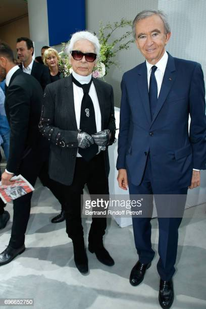 Member of the Jury stylist Karl Lagerfeld and Owner of LVMH Luxury Group Bernard Arnault attend the 'Young Fashion Designer' LVMH Prize 2017 Edition...