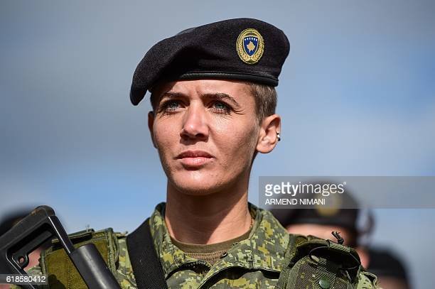 A member of the Kosovo Security Force takes part in a field exercise in the village of Nashec near the town of Prizren on October 27 2016 Eight...