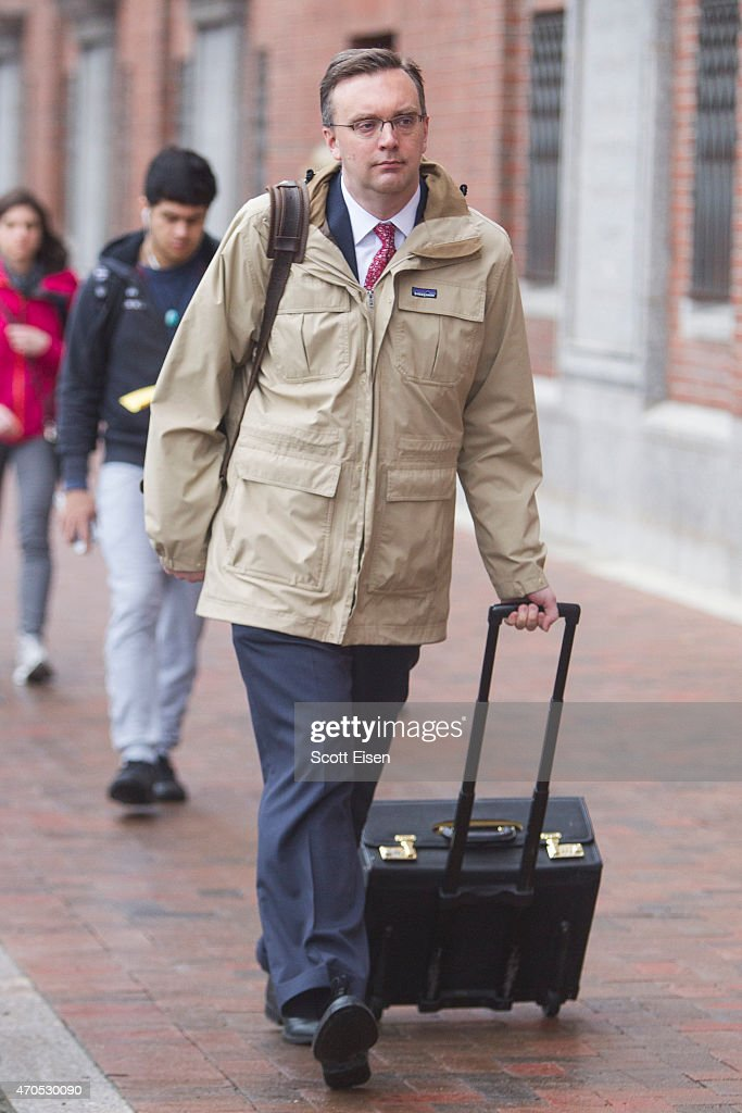 Member of the legal defense team for Boston Marathon bombing suspect <a gi-track='captionPersonalityLinkClicked' href=/galleries/search?phrase=Dzhokhar+Tsarnaev&family=editorial&specificpeople=10845349 ng-click='$event.stopPropagation()'>Dzhokhar Tsarnaev</a>, William Fick, arrives at John Joseph Moakley United States Courthouse during the first day of the sentencing phase of the Boston Marathon Bomber Trial on April 21, 2015 in Boston, Massachusetts. Dzhokar Tsarnaev, 21, was found guilty on all 30 counts related to to his involvement in the 2013 bombing, which related in three deaths and over 250 injuries.