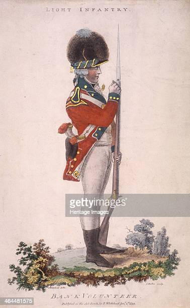Member of the light infantry in the Bank Volunteers holding a rifle with a bayonet attached 1799