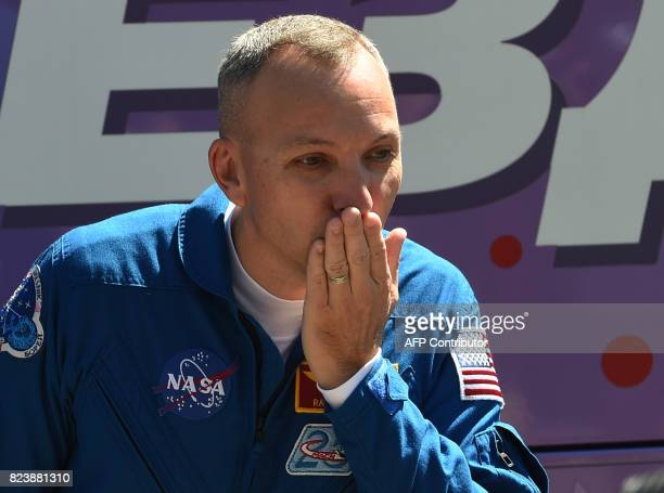 Member of the main crew of the 52 expedition to the International Space Station NASA astronaut Randy Bresnik blows a kiss to the crowd at the...