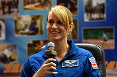 Member of the main crew of the International Space Station Expedition 48/49 astronaut Kate Rubins of NASA speaks during a press conference at the...