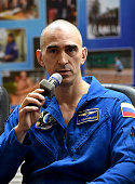 Member of the main crew of the International Space Station Expedition 48/49 cosmonaut Anatoly Ivanishin of the Russian space agency Roscosmos speaks...