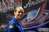 Member of the main crew of the International Space Station Expedition 48/49 astronaut Kate Rubins of NASA smiles during a press conference at the...