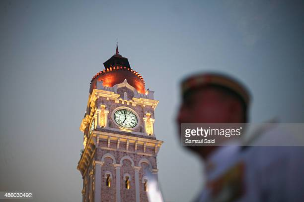 A member of the Malaysian Army stands near the Sultan Abdul Samad Building in Merdeka Square during the celebrations of 58th National Day on August...
