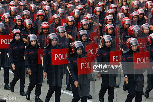 Member of the Malaysia's Federal Reserve Unit march during the celebrations of 58th National Day at Merdeka Square on August 31 2015 in Kuala Lumpur...