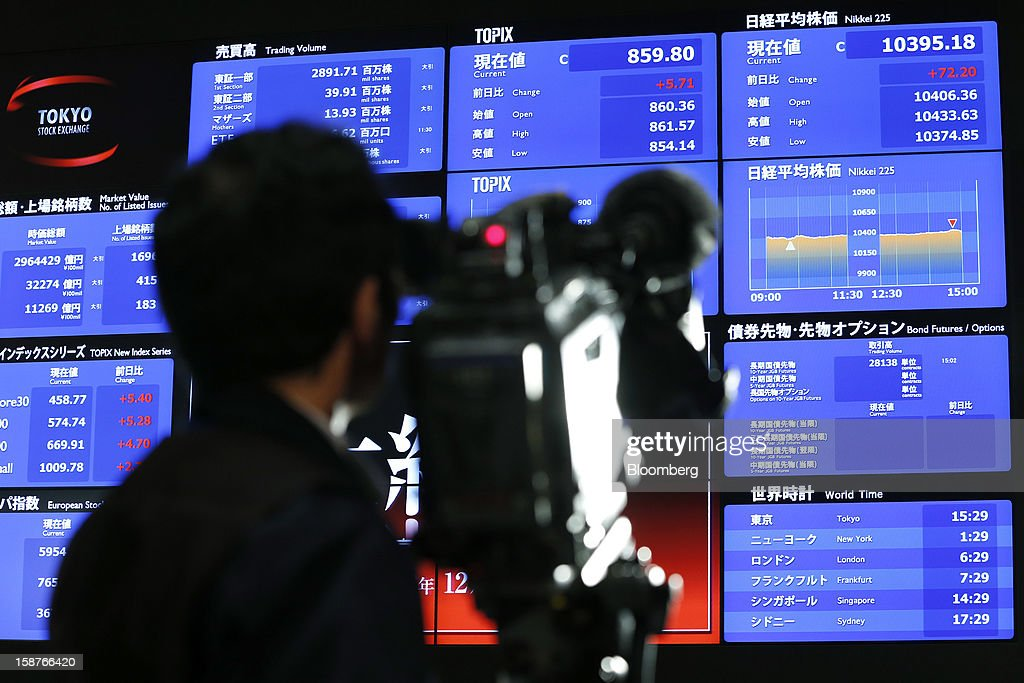 A member of the media films an electronic board displaying the closing figure of the Nikkei 225 Stock Average, top right, on the last trading day of the year at the Tokyo Stock Exchange (TSE) in Tokyo, Japan, on Friday, Dec. 28, 2012. Japanese stocks rose, with the Nikkei 225 Stock Average capping its biggest yearly advance since 2005, as the yen weakened after consumer prices and industrial production data fueled speculation the central bank will respond to calls for more stimulus. Photographer: Kiyoshi Ota/Bloomberg via Getty Images