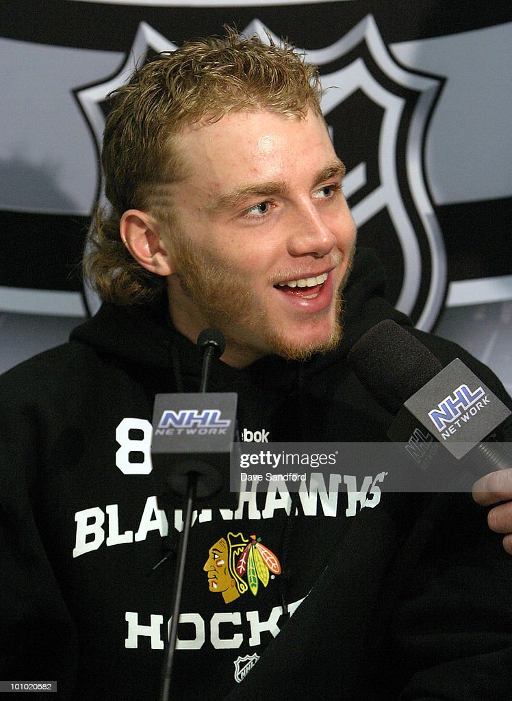 A Member of the media speaks with Patrick Kane #88 of the Chicago Blackhawks during the Pre-Series Player Media Availability held at the United Center on May 27, 2010 in Chicago, Illinois.