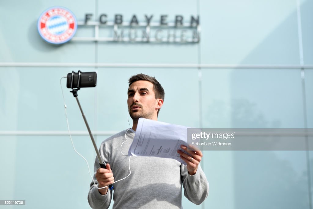 A member of the media with a selfie stick is seen at Saebener Strasse training ground on September 28, 2017 in Munich, Germany. FC Bayern Muenchen has sacked head coach Carlo Ancelotti after the 3 - 0 defeat in last night's UEFA Champions League match against Paris Saint-Germain.