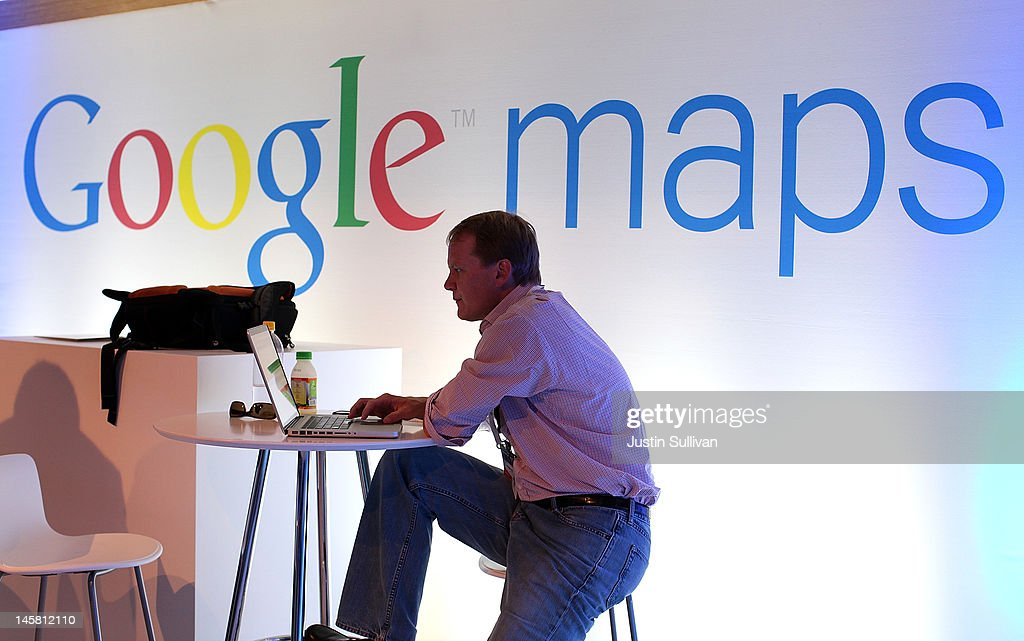 A member of the media works on a laptop before the start of a news conference about Google Maps on June 6, 2012 in San Francisco, California. Google announced new upgrades to Google maps including a feature to download maps and view offline, better 3D mapping and a backpack camera backpack camera device called Trekker that will allow Street View to go offroad on hiking trails and places only accessible by foot.