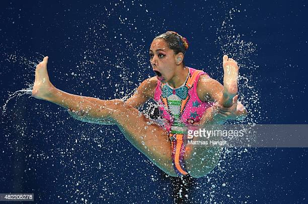 A member of the Mexico team competes in the Women's Team Free Synchronised Swimming Preliminary on day four of the 16th FINA World Championships at...