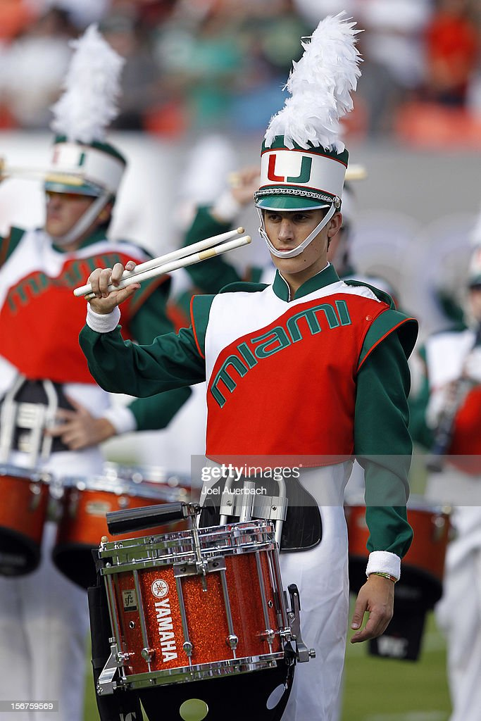 A member of the Miami Hurricanes 'Band of the Hour' performs prior to the game against the South Florida Bulls on November 17, 2012 at Sun Life Stadium in Miami Gardens, Florida. The Hurricanes defeated the Bulls 40-9.