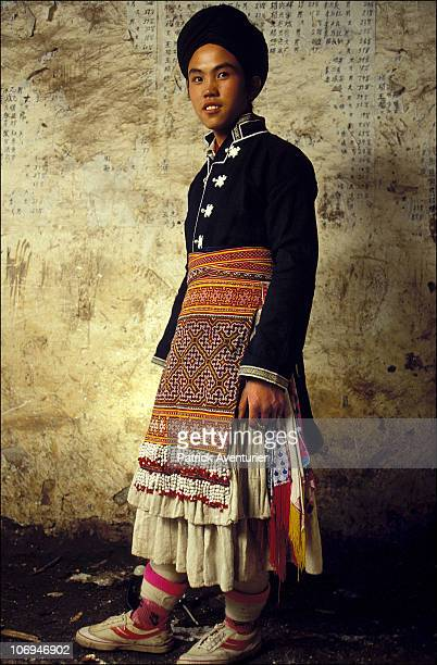 A member of the Miao ethnic minority group in their village September 1993 in Guizhou Province China The Miao are a linguistically linked group...