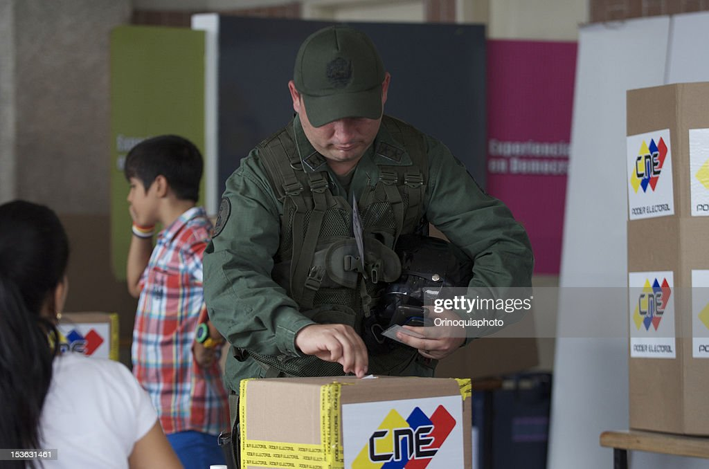A member of the military force of Venezuela votes for President on October 07, 2012 in Caracas, Venezuela. Hugo Chavez seeks reelection against the candidate of the MUD party, Henrique Capriles.