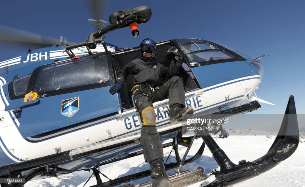A member of the Mountain Gendarmerie's 'Peloton de Gendarmerie HauteMontagne' rescue workers unit which reaches injured skiers in the mountains...
