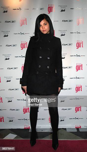 Member of the music group MisShapes Leigh Lezark arrives to the Elle Girl's Music Issue Celebration party at Webster Hall on December 7 2005 In New...