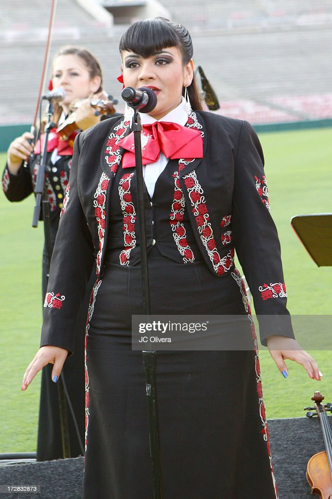 Member of the musical group Mariachi Divas performs on stage during Americafest 2013, 87th Annual Fourth of July Celebration at Rose Bowl on July 4, 2013 in Pasadena, California.