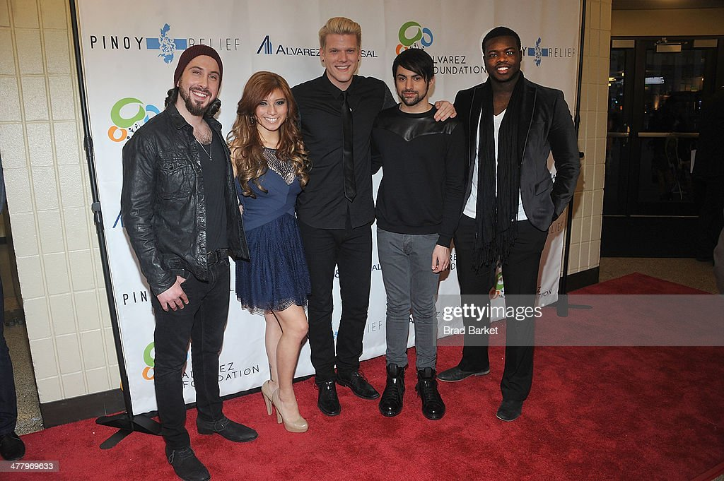 Member of the musician of the music grou Pentatonix Avi Kaplan, Kirstie Maldonado, Scott Hoying, Mitch Grazzi and Kevin Olusola arrive at the Pinoy Relief Benefit Concert at Madison Square Garden on March 11, 2014 in New York City.