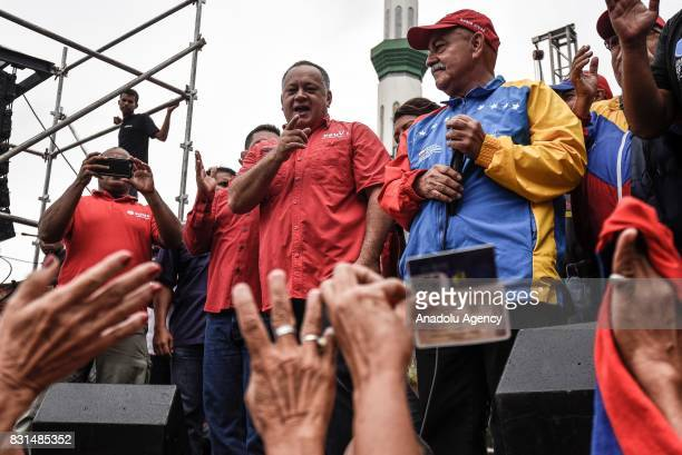 Member of the National Assembly of Venezuela Diosdado Cabello attends a rally to support Venezuelan President Nicolas Maduro and oppose US President...