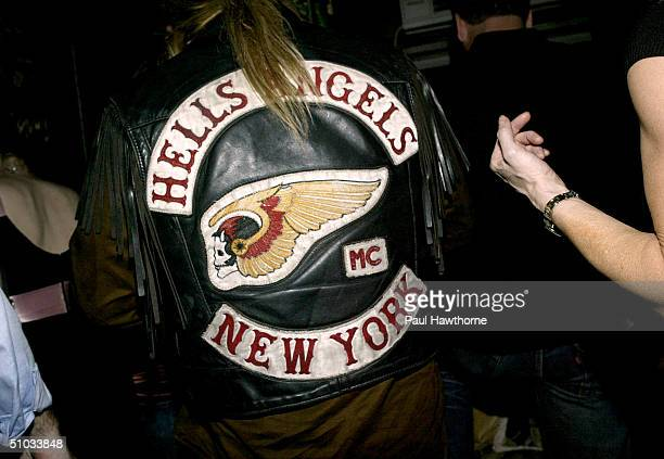 A member of the New York chapter of the Hells Angels attends the Premiere of 'Metallica Some Kind of Monster' after party at Gramercy Park Hotel...